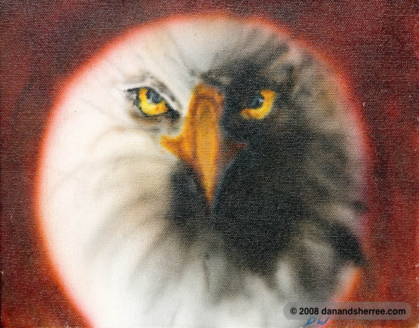 Bald Eagle airbrushed on an 8- x 10-inch canvas.